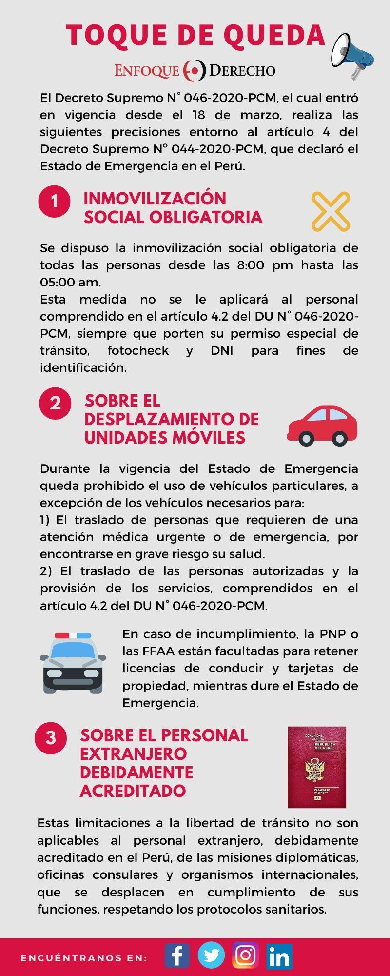 Infografia Decreto Supremo N 046 2020 Pcm Sobre El Toque De Queda Enfoque Derecho El Portal De Actualidad Juridica De Themis